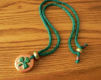 Long Shamrock Necklace Hand Knitted in Green Metallic Yarn with Handmade Shamrock Pendant and Beads//Long St Patrick's Day Necklace