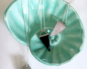 Geometric Prism Charm Pendant Necklace, Sterling Silver