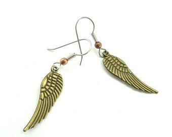 Steampunk Earrings Brass Wings