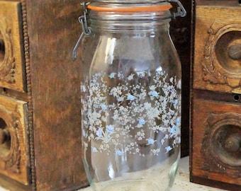 Large Glass Storage Jar/Glass Storage Container/ARC France Glass Jar/Blue Flower Glass Jar/Mason Jar/French Storage Jar/Vintage Mason Jar