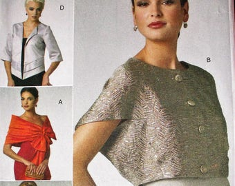 Vogue pattern, V8721,  misses wrap, shrug and jacket, short sleeve jacket, evening wear shrug, jacket and wrap, sz: Lg, Xlg