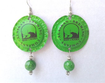 Green Polar Bear Earrings