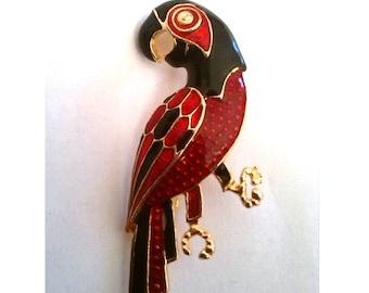 Enamel Parrot Brooch, Golden, Red and Black