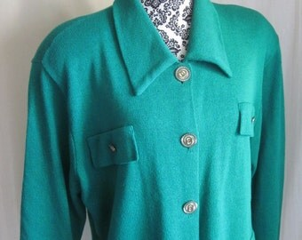 LAURA by Alyzia Green Vintage Button Front Cardigan Sweater XL XLarge