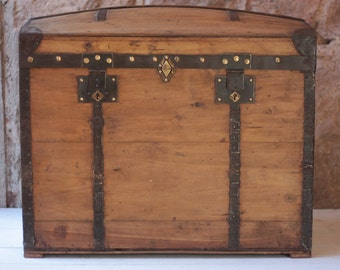 """29"""" Antique French Wooden Treasure Chest, with Barrel Top"""