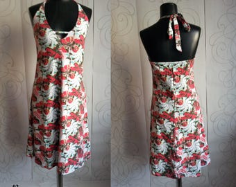 Woman's White Floral Dress in 100% cotton, Summer Beach Clothing, Low Cut back, Knee Length in size L 12/14, Gift for Her, Flowers in Red