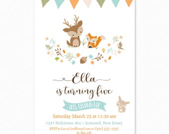 Woodland Birthday Invitation - Woodland Invitation - Woodland Invite - Woodland Birthday Invite