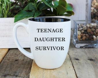 Large Coffee Mug, Bistro Coffee Mug, Coffee Mug, Custom Coffee Mug, Father's Day Mug, Father's Day Gifts, Coffee Mugs --BCM-B-TEENDAUGHTER