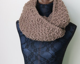Knitted Knit Large Cowl, Infinity Scarf, Circle Scarf. Handmade in Taupe Chunky Wool Yarn. Seed Stitch Pattern