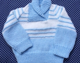 Hand knitted baby cardigan- blue/white coloured baby cardigan- hand knitted baby clothes- 3 to 6 months size