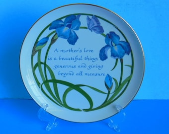 Floral Mothers Day Plate, Blue Iris 1984 American Greeting Lasting Memories Edition Collectible Porcelain Mothers Day Plate Gift for Mom