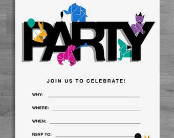 Fun Party Invite - Party Animals - Personalisable