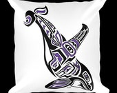 "Custom Pillow - Haida Killer Whale, Tlingit Orca, Native American, First Nations, Pacific Northwest Coast Art 18x18 Pillow. ""Pacific Hunt"""