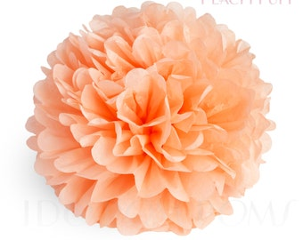 Peach Puff - Coral Tissue Paper Pom Poms - Wedding Party Decorations - Baby shower Decorations