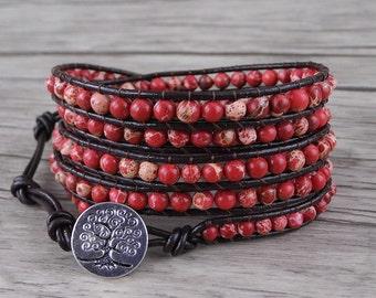 turquoise wrap bracelet gemstone bracelet Red Jasper beads bracelet leather wrap bracelet boho bead bracelet yoga wrap bracelet SL-0215