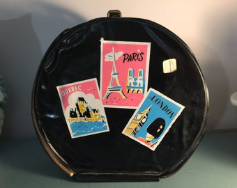 Vi atge Black Patten Hat Box or Doll Case Tote Pink amd Blue