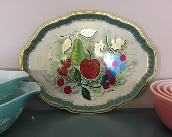 Vintage Baret Ware Still Life Turquoise and dark Pink Red GreenServing Tea Tray