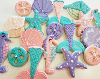 Seashell cookies, mermaid cookies, mermaid party, sandollar,starfish cookie,under the sea,mermaid fin, sugar cookie, girls party,party favor