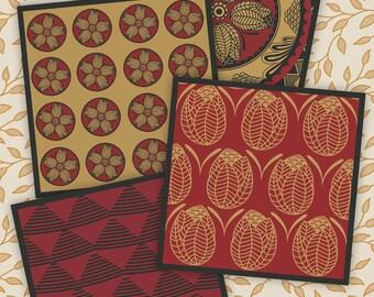 FLORAL PRINT - coaster print, folk art, Digital Print download, digital collage, 3.8x3.8 inch size, 1 sheet,