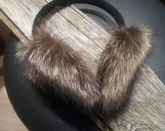 Fur earmuffs, raccoon earmuffs, fur ear warmers