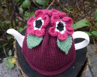 Tea Cosy With Crochet Dark Pink Flowers