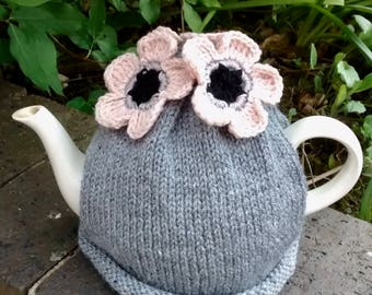 Grey Tea Cosy with Pale Peach Flowers, Flower Teacosy