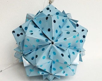 Baby Bkue Kusudama Ball, Origami Kusudama Ball, Baby Blue Decor, Kusudama Ornament, Baby Blue Paper Ball, Blue Baby Mobile, Baby Shower Gift