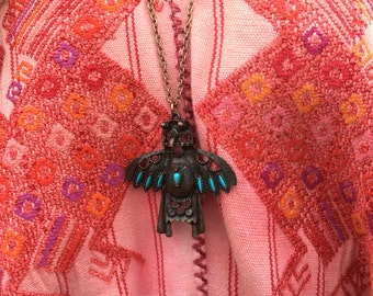 Vintage copper chain necklace with thunderbird pendant