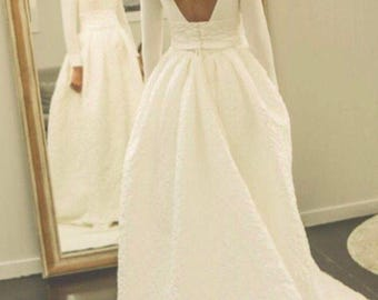 Ivory embossed wedding gown / quilt wedding dress / long sleeves bridal gown / winter wedding dress /