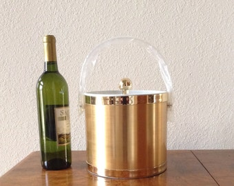 Vintage Ice Bucket, New in Box, Mid Century Modern Ice Bucket, Barware, Gold Culver Ice Bucket