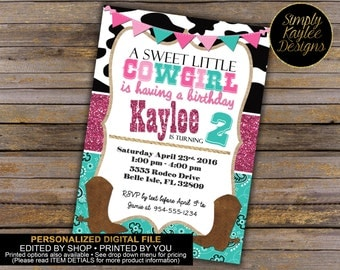 Sweet Little Cowgirl Birthday Party Invitation