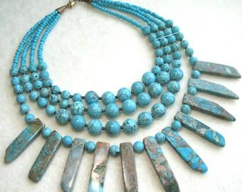 Multi Strand Turquoise Jasper Statement Necklace