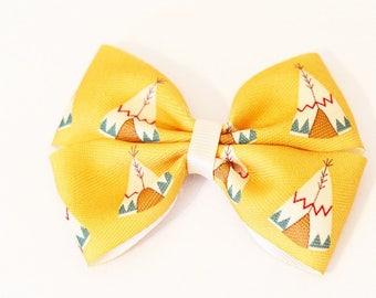 Teepee Hair Bow | 4 inch pinwheel bow, teepee bow, camping hair bow, tent hair bow, camping hair clips, outdoors hair bow, wilderness bow