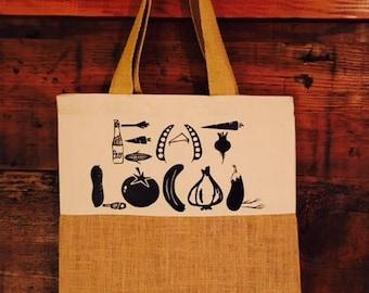 Eat Local Farmers Market Bag, Tote Bag, Grocery Bag, Go Green, Eco Friendly Reusable Tote, Burlap Tote, Jute Tote