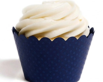 Navy Embossed Cupcake  wrappers (Set of 12) - EF302019