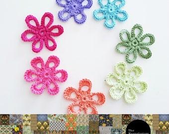 Crochet Flower Magnets - Set of 7