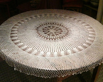 Crocheted tablecloth / hand made / ecru cotton crochet tablecloth / vintage / French / handmade.
