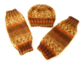 MEN'S LEG WARMERS and matching beanie.