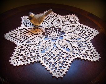 """Ecru/Natural Crochet Doily--Pineapples and Points--16""""--Free Shipping"""