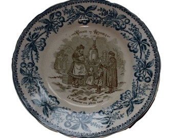 French Blue Transferware Plate - Russian Samovar to the Wind - Choisy Le Roi Plate Russia Journey Number 1 Voyage Russie