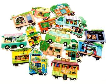 Little Shophouses Flake Stickers (16 pcs) // N17 // Die Cut Stickers // Planners //  Laptop Stickers  // Scrapbooking Essentials