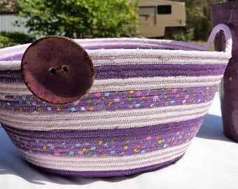 Fabric basket, Coiled rope basket, fabric basket, Storage basket, Purple and Light Pink color basket, Homemade, Handmade, Clothesline
