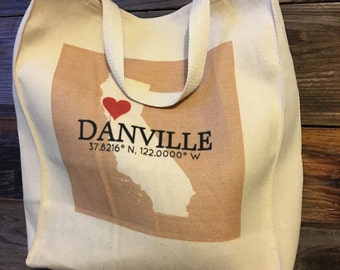 Custom Coordinate Cotton Grocery Bag Personalized I Heart My Town and State Tote Bag,