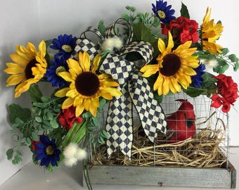 Rustic Farmhouse Bird Cage Centerpiece
