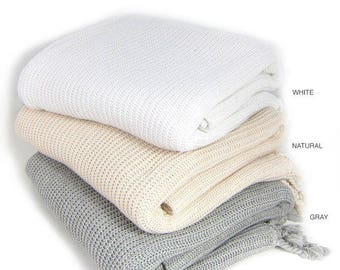 100 pure organic cotton knit throw knitted blanket with tassels cozy lightweight - Cable Knit Throw