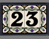 House Numbers Address Tiles Ceramic Framed Set - Cottage Style, Hex-Flowers