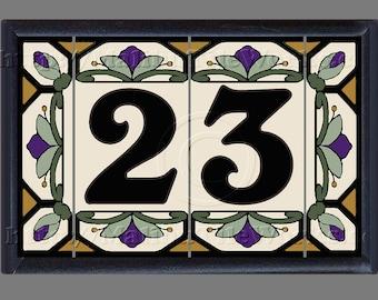 Ceramic House Number Tiles Address Tiles Framed Set - Cottage Style, Hex-Flowers