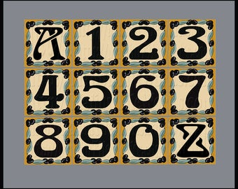 House Numbers or Letter Address Tiles, Tuscan Olives, Horizontal or Vertical Placement