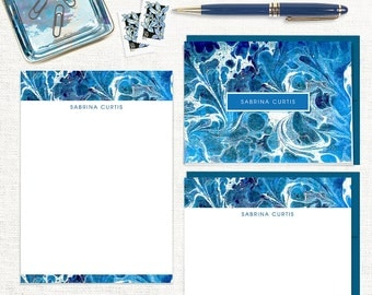 complete personalized stationery set - vintage marble paper SABRINA BLUE - note cards - notepad - custom stationary