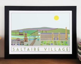 Saltaire Village Travel Poster